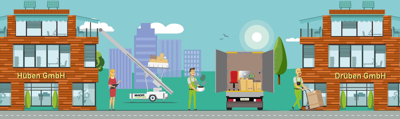 Illustration von einem Firmenumzug