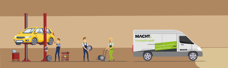 Illustration von einer Reifeneinlagerung